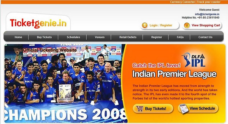 Book IPL 2010 Tickets Online at TicketGenie